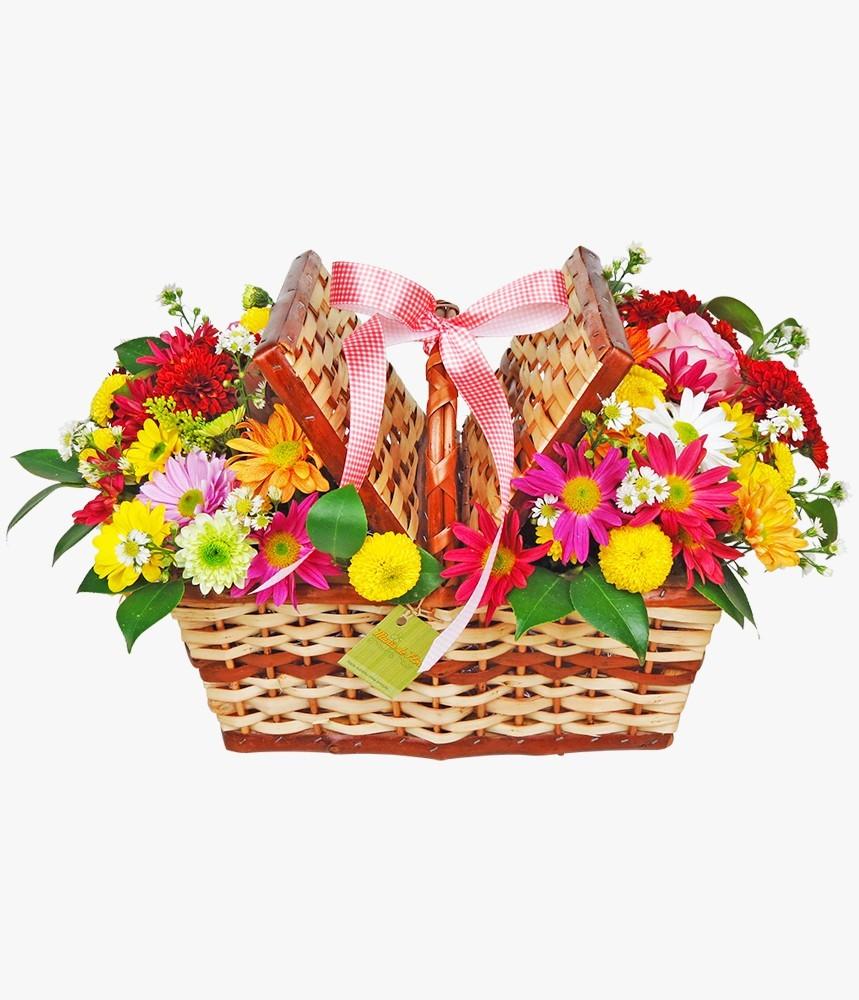 Cesta de flores mistas Divirta-se com a Vida