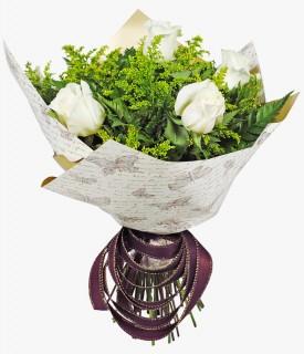 Buquê de 06 Rosas Brancas Importadas