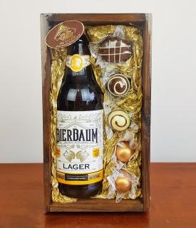 Caixa Madeira Cerveja Bierbaum Lager c/ bombons sortidos 110g Treze Tílias