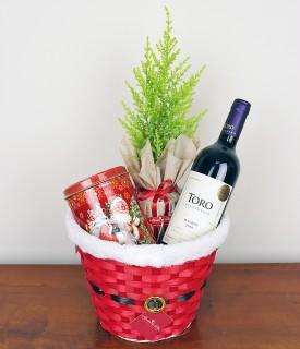 Cesta com Vinho e biscoitos Bons Momentos do Natal