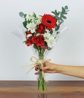 Flores para decorar P - branco e vermelho